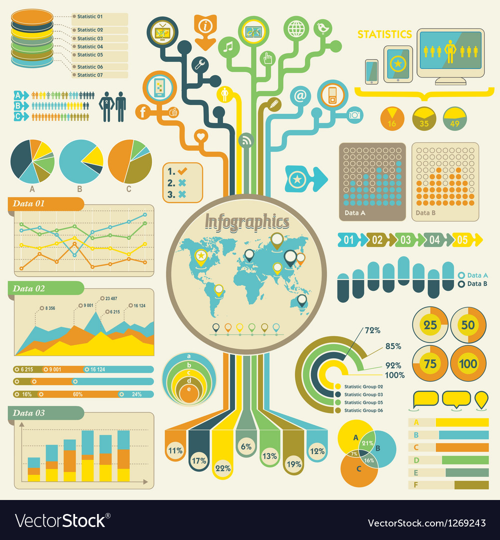 Infographics set communication technology vector | Price: 3 Credit (USD $3)