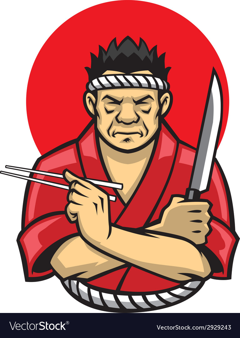 Japanese chef crossing arm vector | Price: 3 Credit (USD $3)