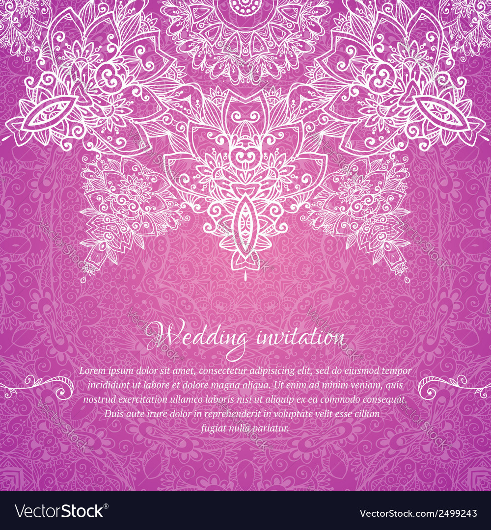 Pink ornate vintage wedding card background vector | Price: 1 Credit (USD $1)