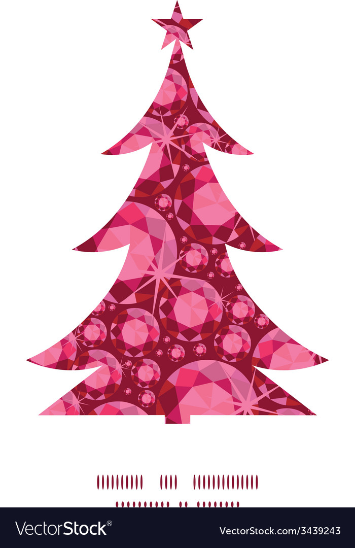 Ruby christmas tree silhouette pattern frame card vector | Price: 1 Credit (USD $1)
