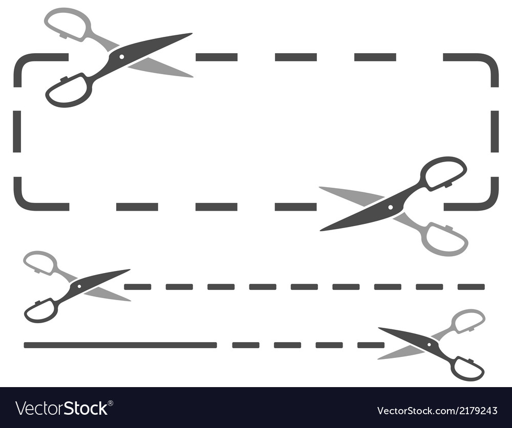 Scissors silhouette with dotted line vector | Price: 1 Credit (USD $1)