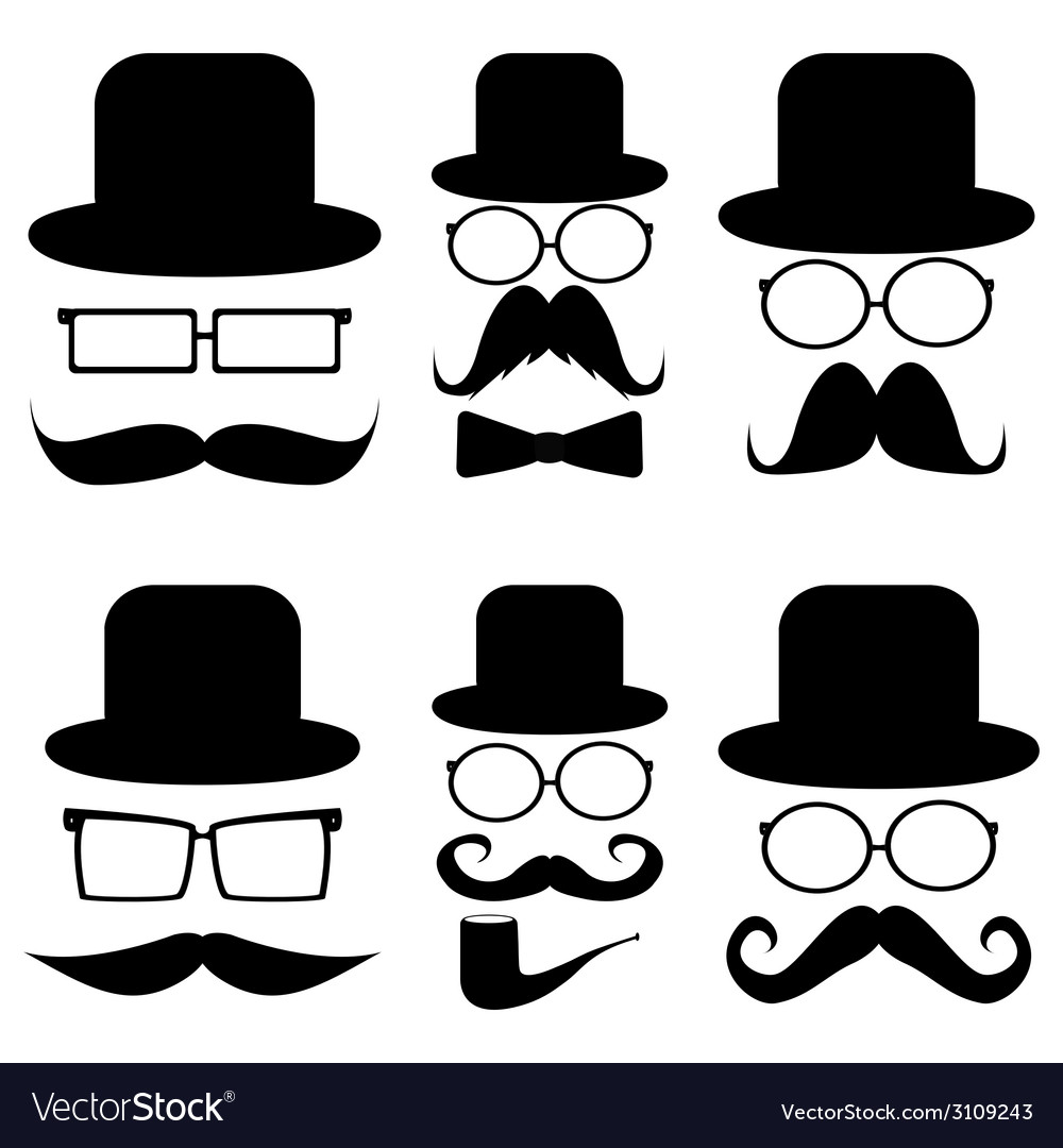 Set mustache hats glasses vector | Price: 1 Credit (USD $1)