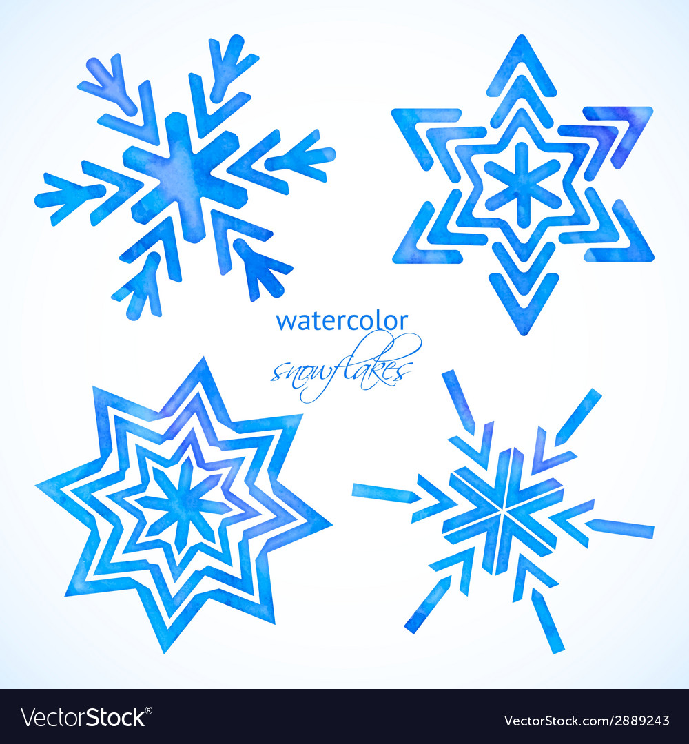 Set of watercolor snowflakes vector | Price: 1 Credit (USD $1)