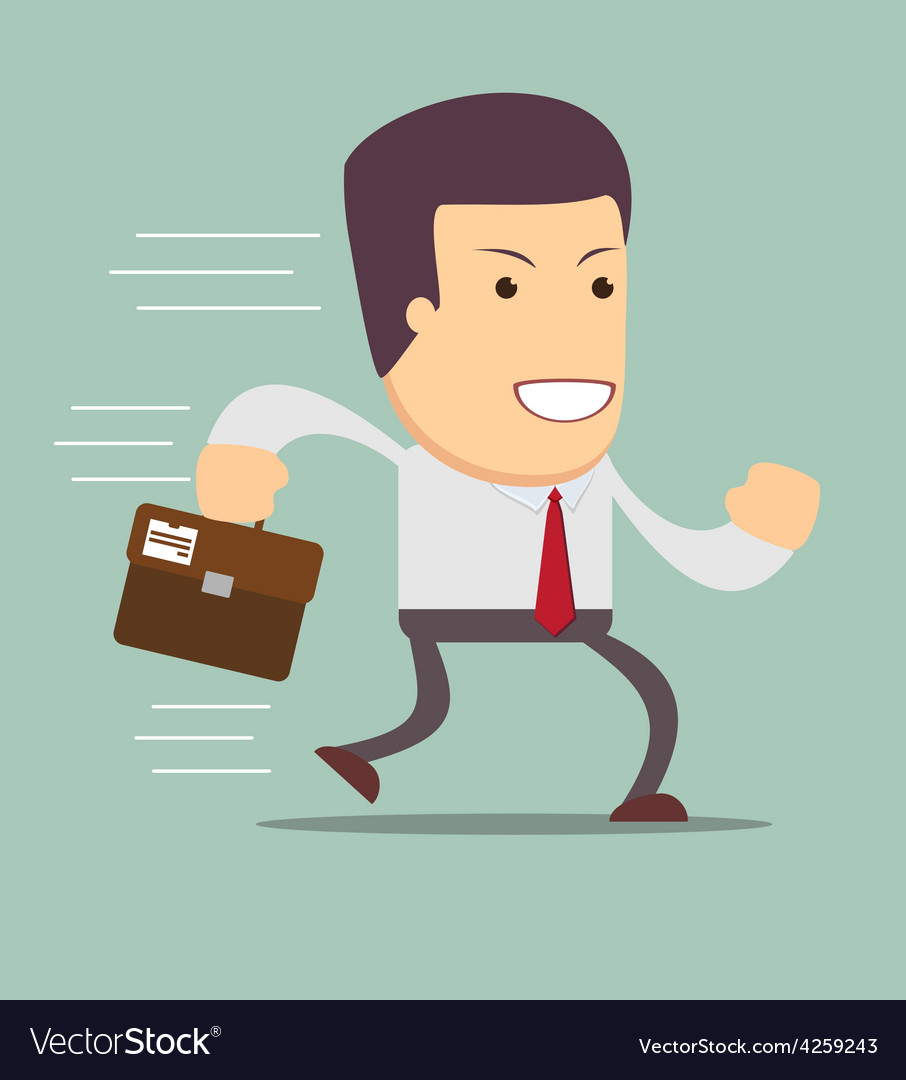 Smiling businessman running to work vector | Price: 1 Credit (USD $1)