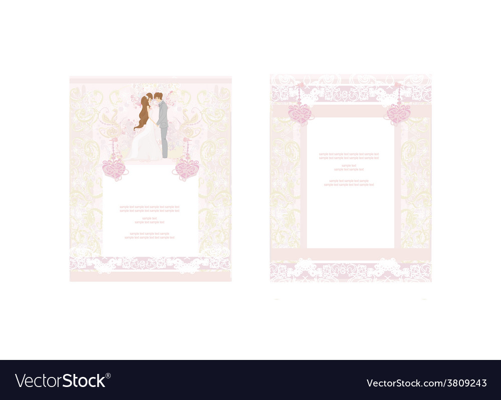 Wedding dancing couple on abstract background card vector | Price: 1 Credit (USD $1)