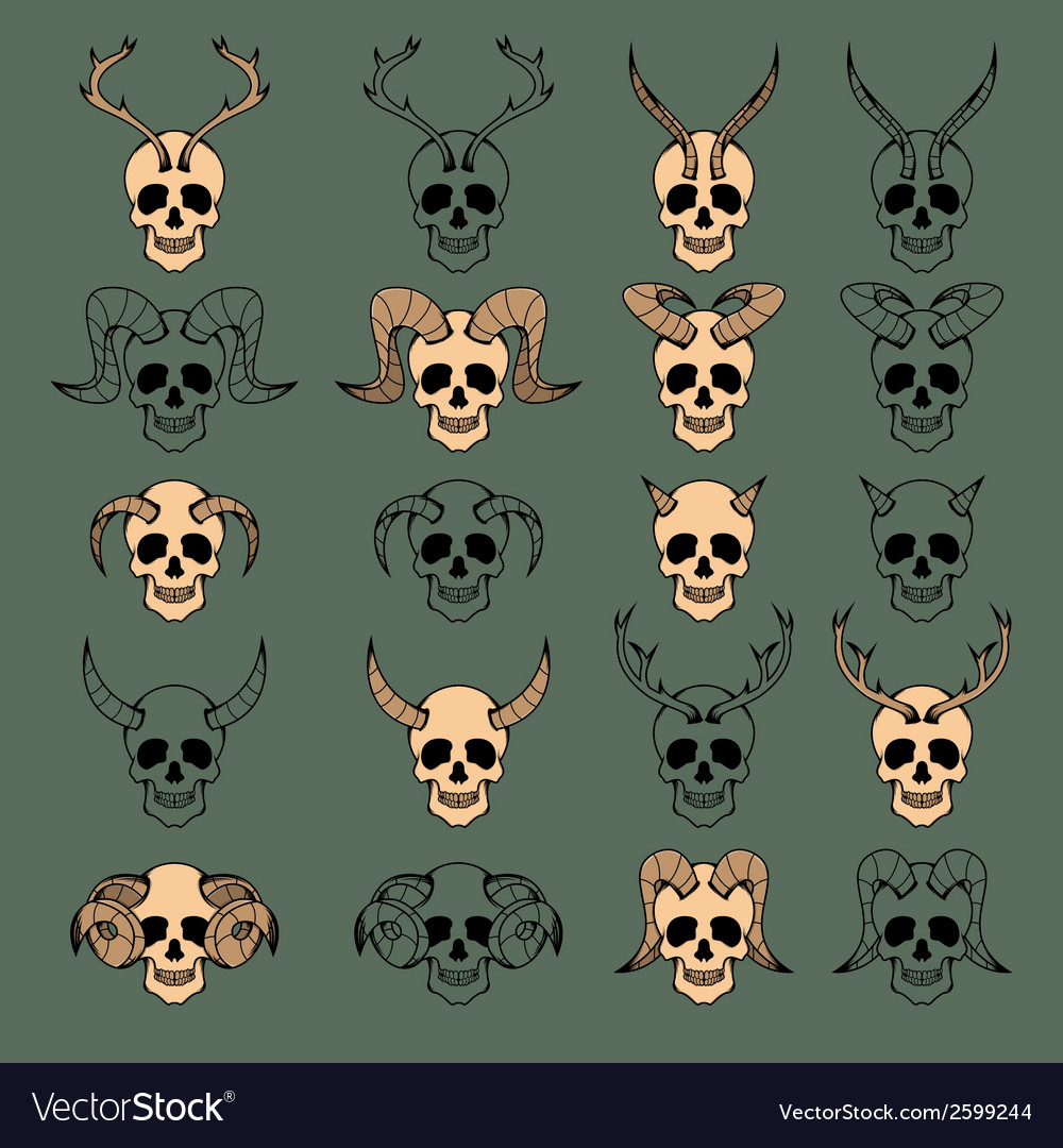 10 evil skull collection vector | Price: 1 Credit (USD $1)