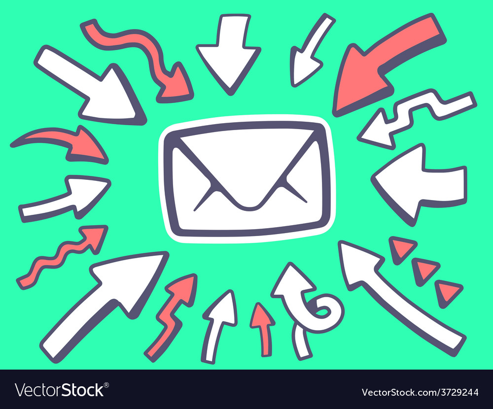 Arrows point to icon of envelope on green vector | Price: 1 Credit (USD $1)