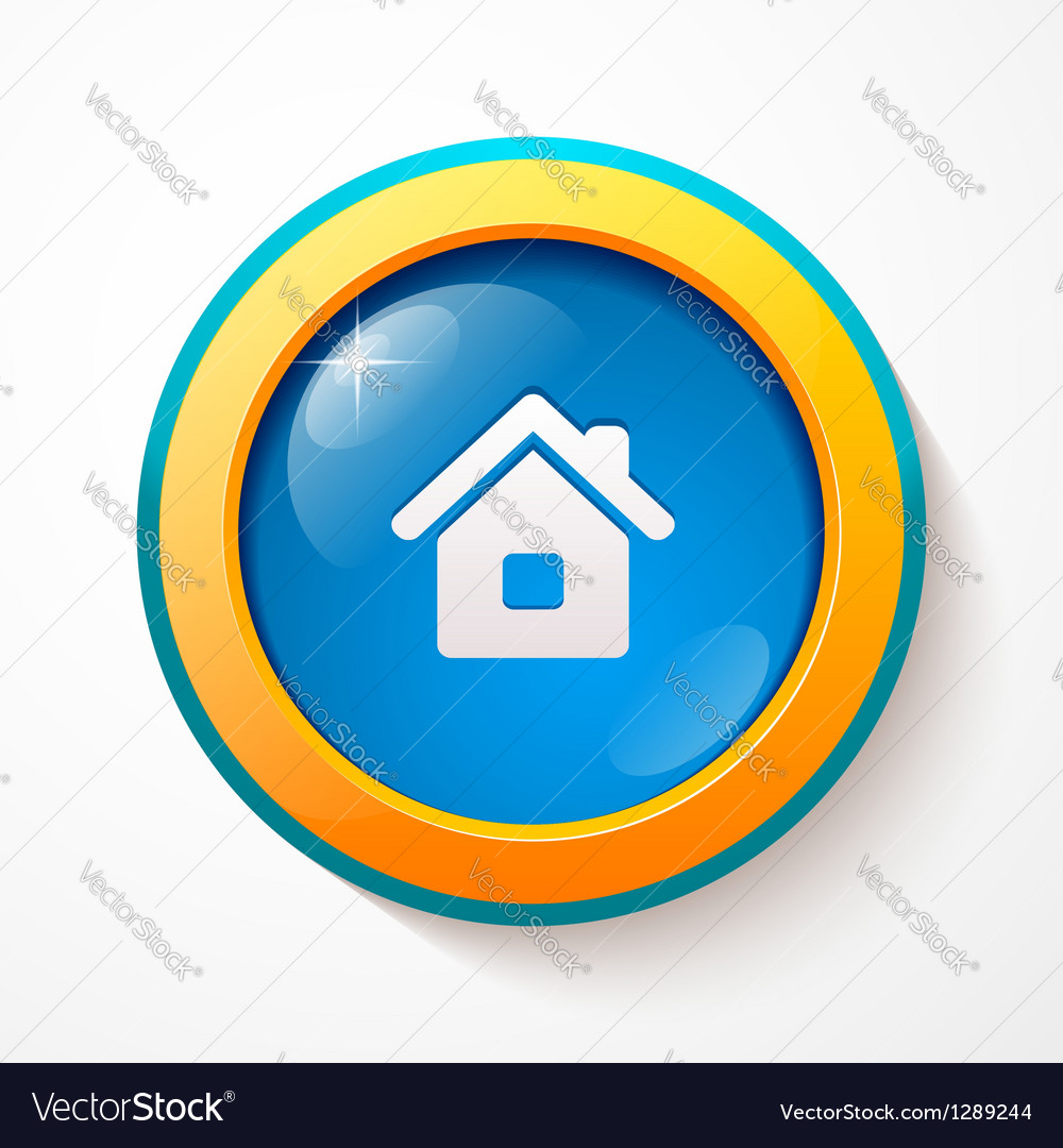 Blue glass home button vector | Price: 1 Credit (USD $1)