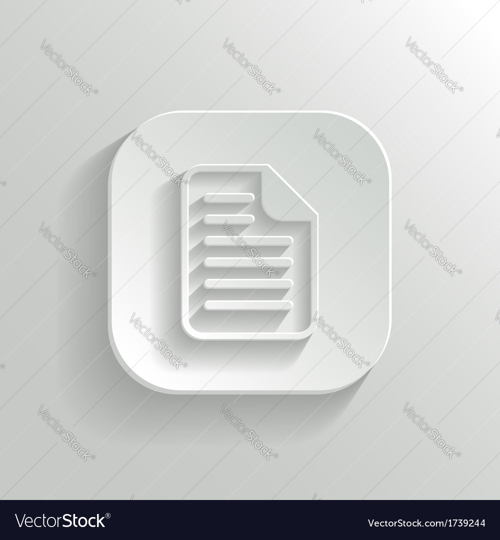 Document icon - white app button vector | Price: 1 Credit (USD $1)