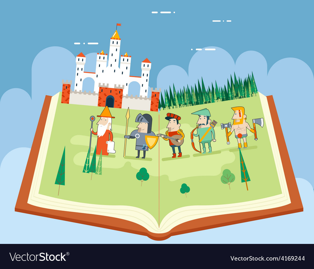 Fairy tales history books reading concept symbol vector | Price: 1 Credit (USD $1)