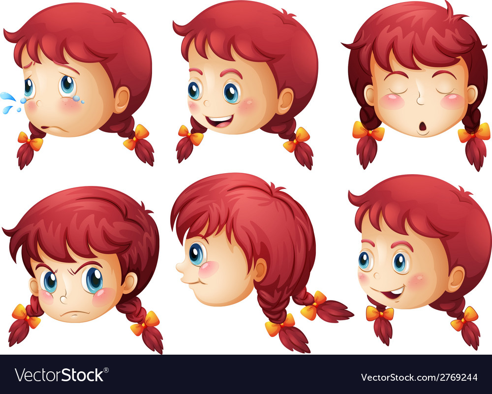 Girl expressions vector | Price: 1 Credit (USD $1)