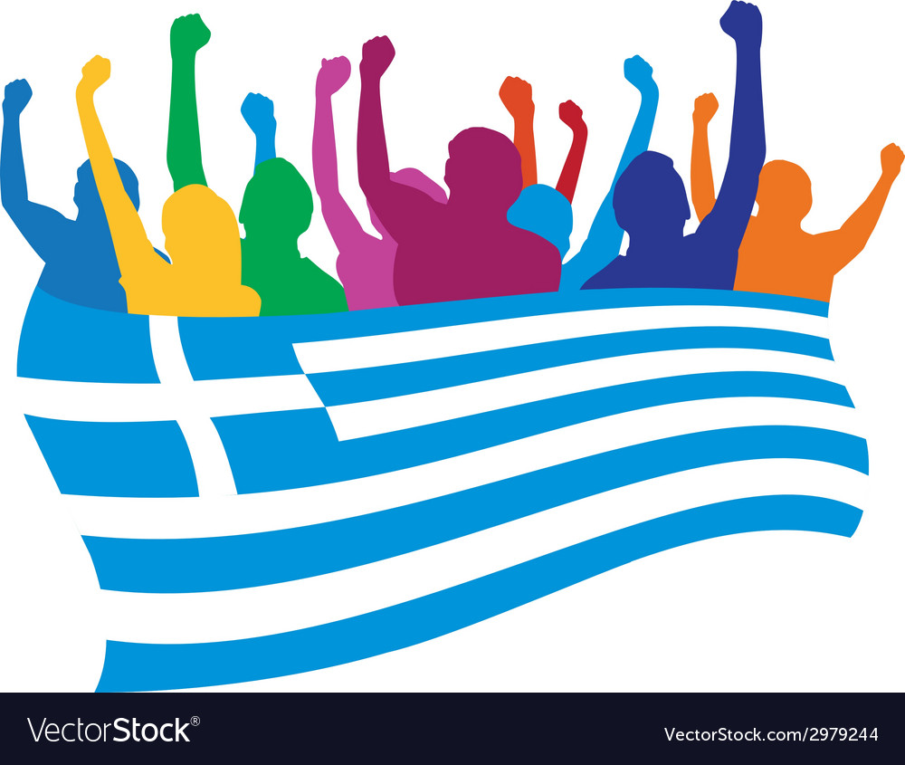Greece fans vector | Price: 1 Credit (USD $1)