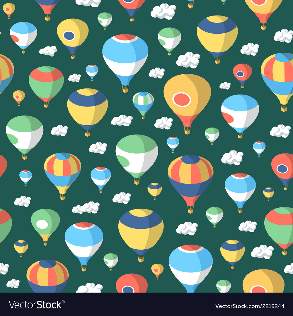 Hot air balloons - seamless pattern vector | Price: 1 Credit (USD $1)