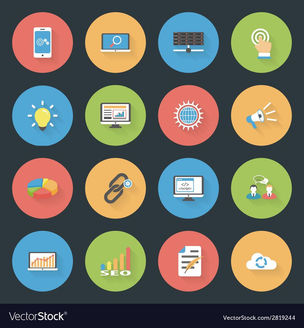 Seo flat icons set vector | Price: 1 Credit (USD $1)