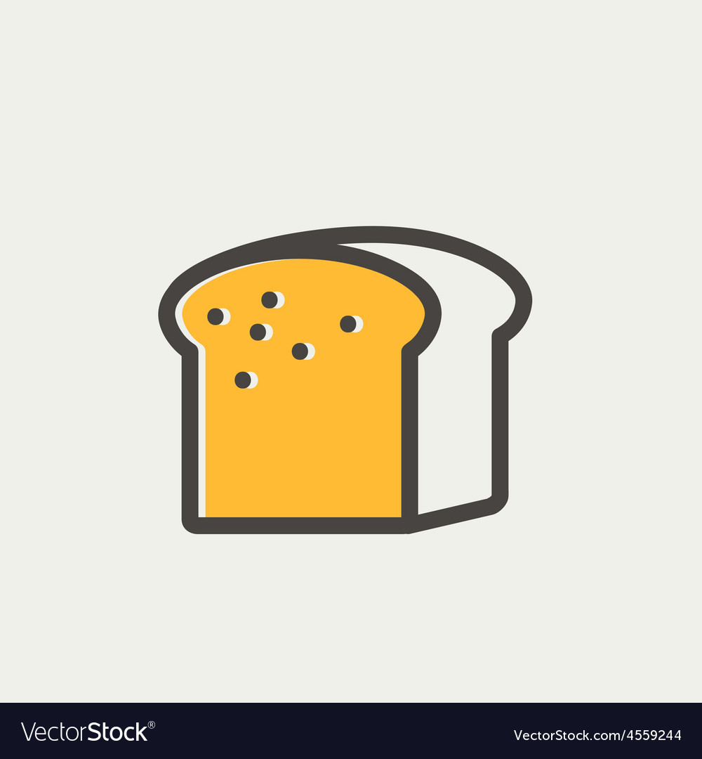 Small size loaf of bread thin line icon vector | Price: 1 Credit (USD $1)