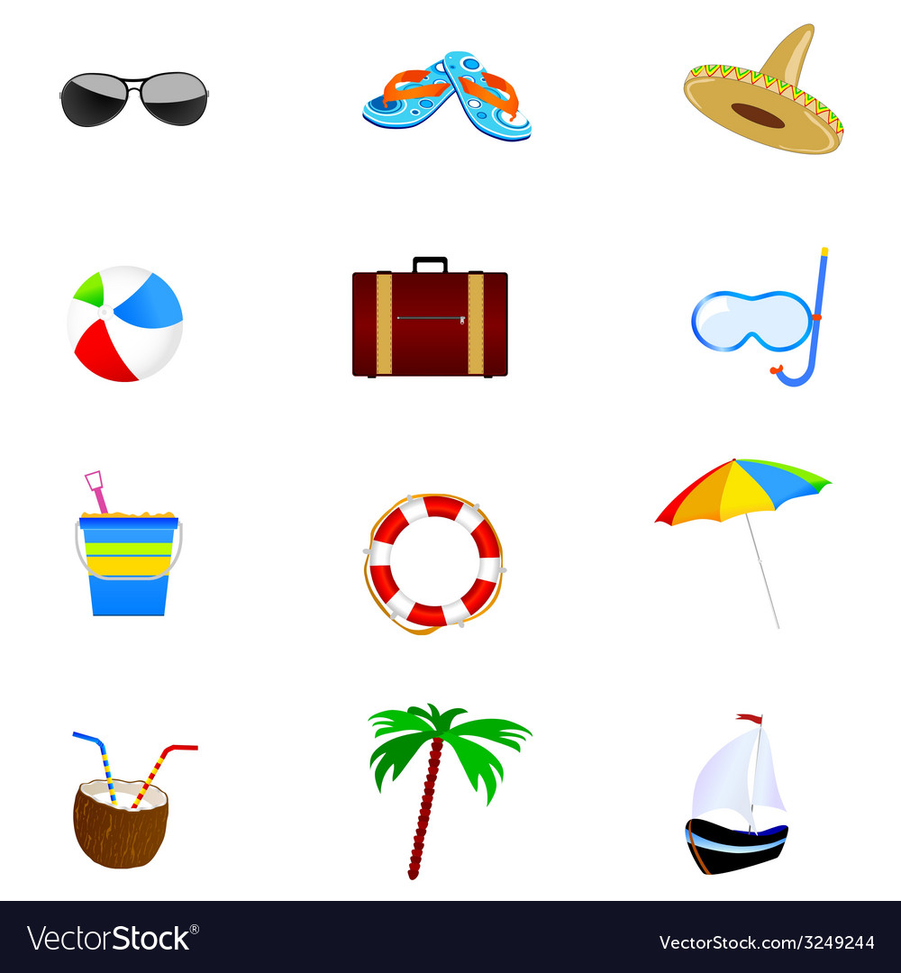 Summer icon art part two vector | Price: 1 Credit (USD $1)