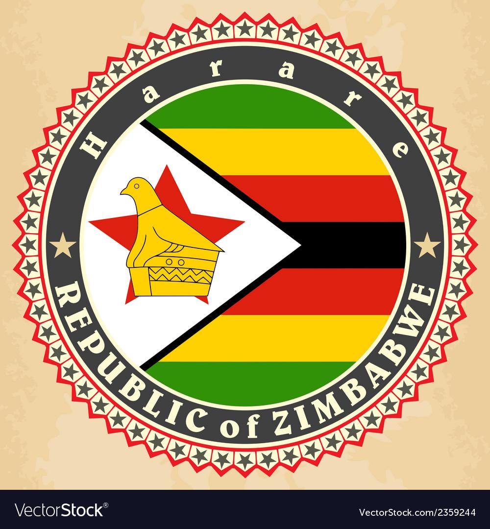 Vintage label cards of zimbabwe flag vector | Price: 1 Credit (USD $1)
