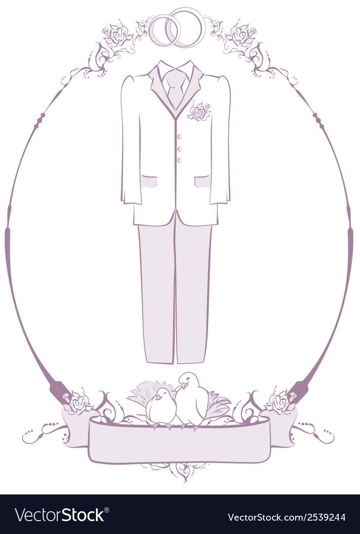 Wedding groom suit in frame vector | Price: 1 Credit (USD $1)