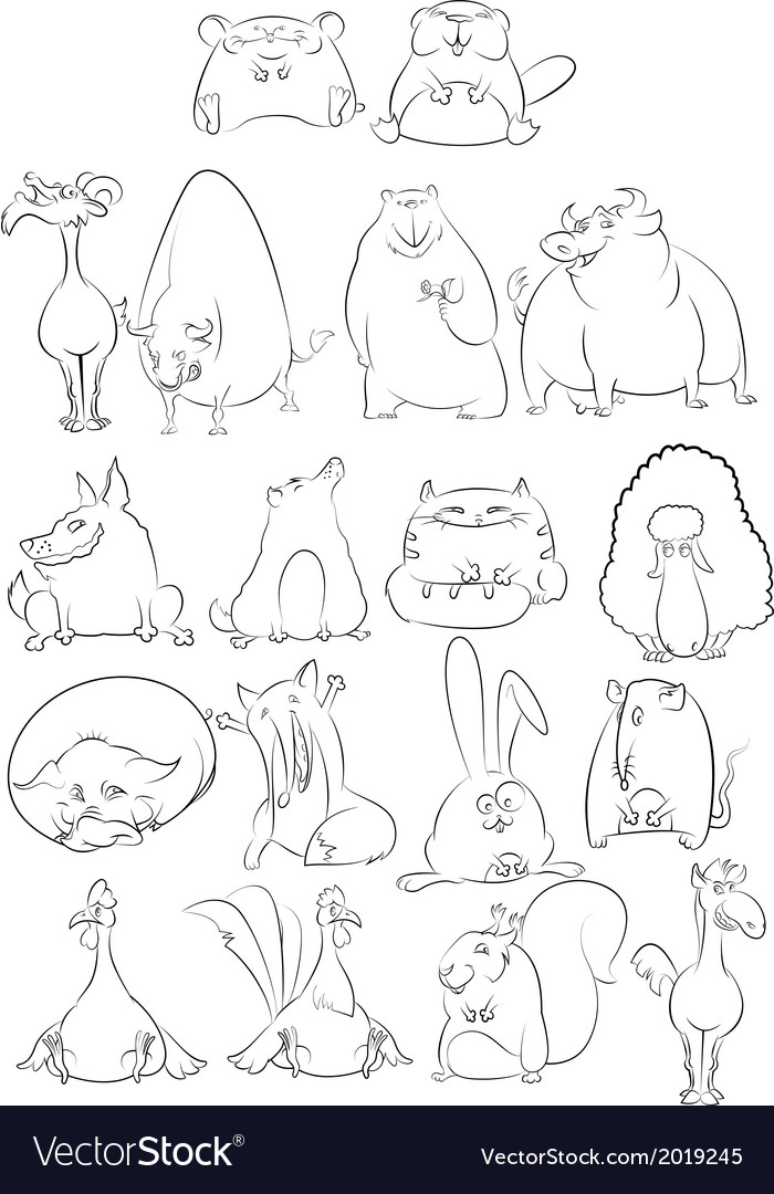 Black and white cartoon animals vector | Price: 1 Credit (USD $1)