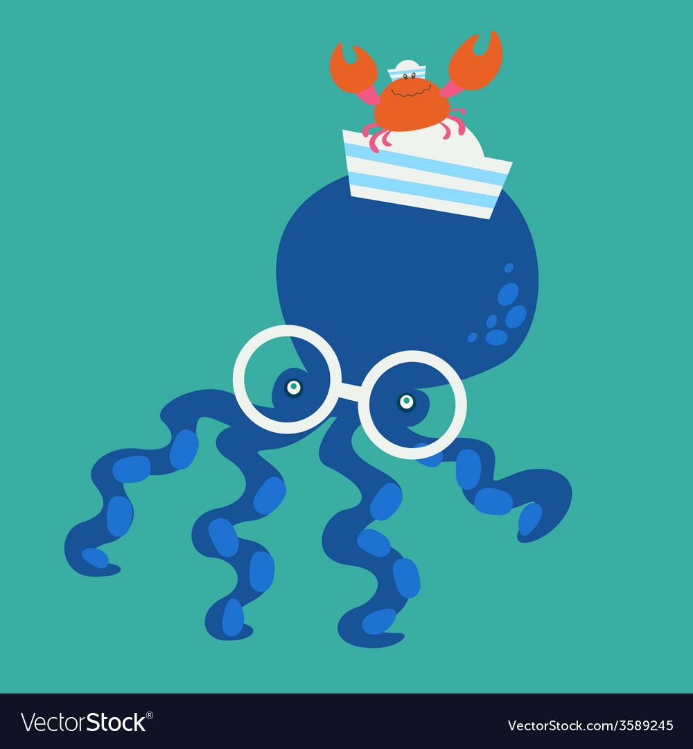 Blue octopus and crab vector | Price: 1 Credit (USD $1)