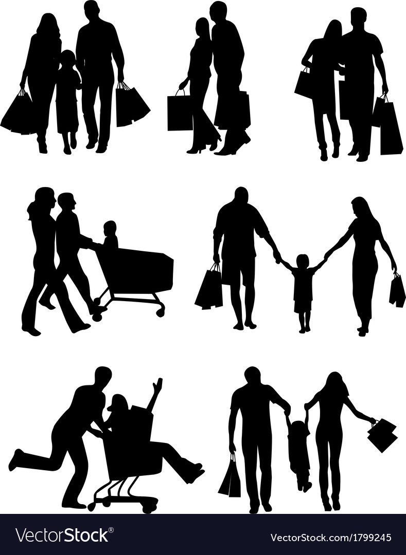 Family silhouettes shopping vector | Price: 1 Credit (USD $1)