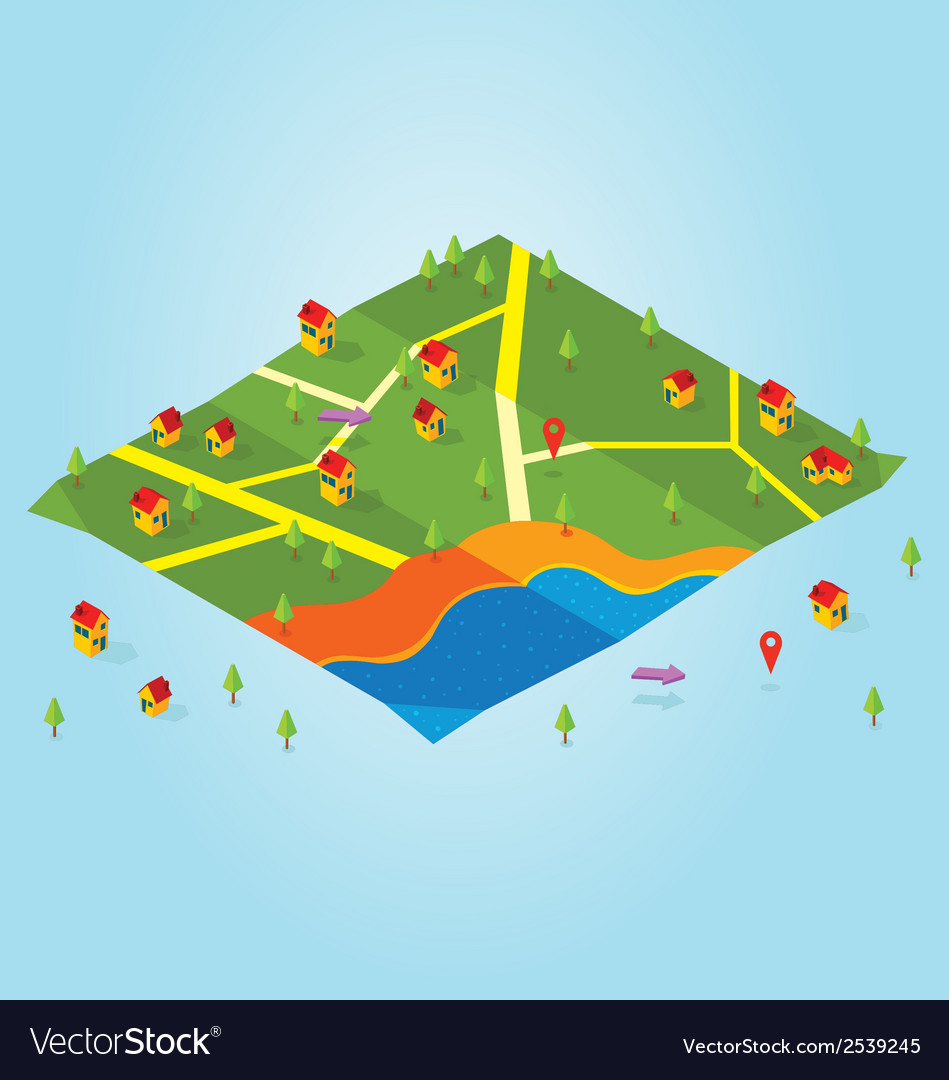 Isometric map vector | Price: 1 Credit (USD $1)
