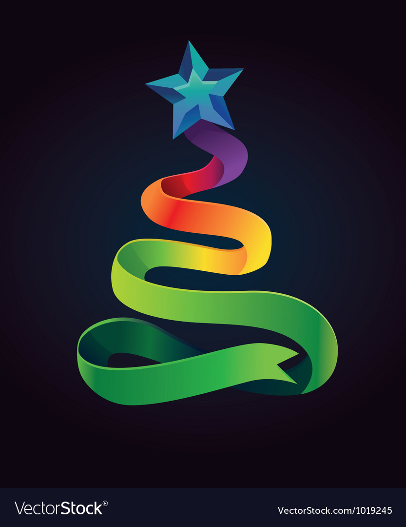 Modern christmas card with tree made from ribbon vector | Price: 1 Credit (USD $1)