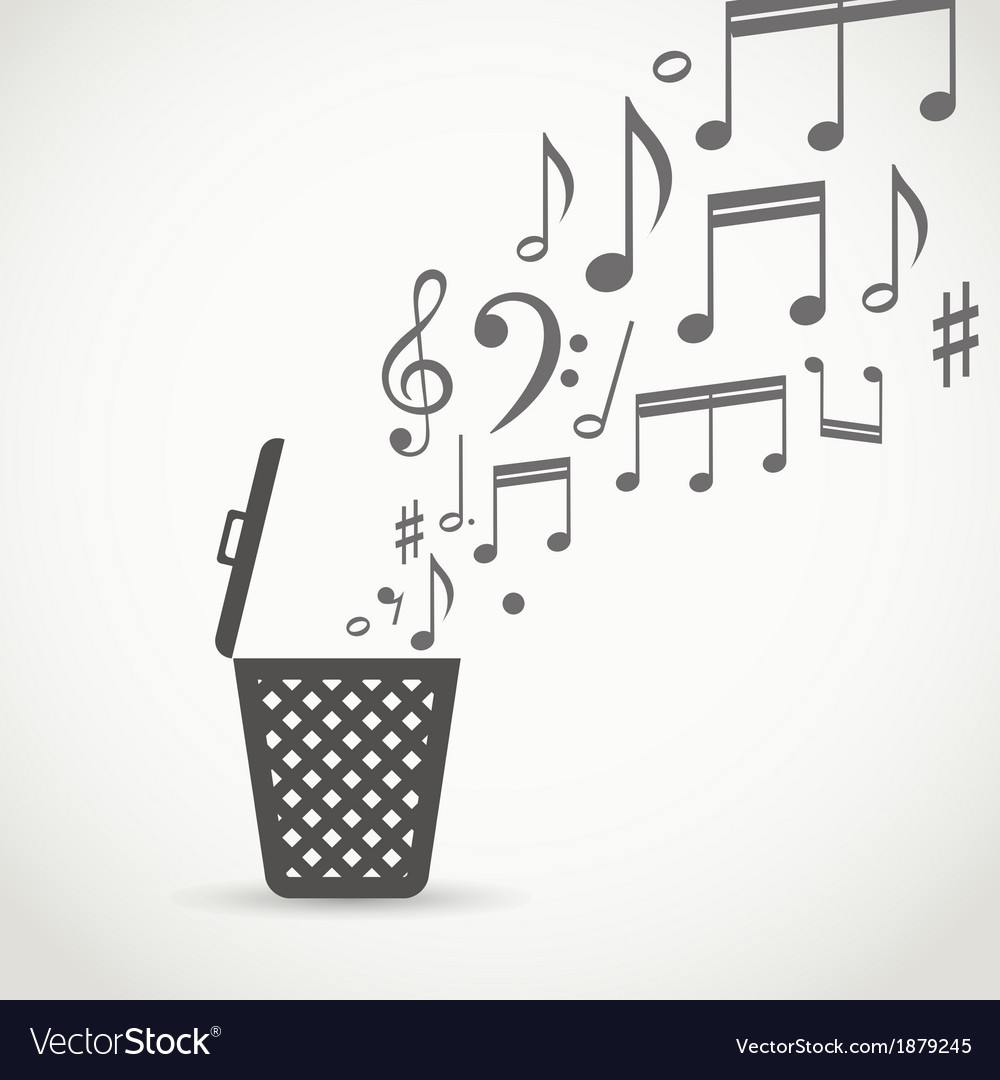 Notes flowing into a garbage basket vector | Price: 1 Credit (USD $1)
