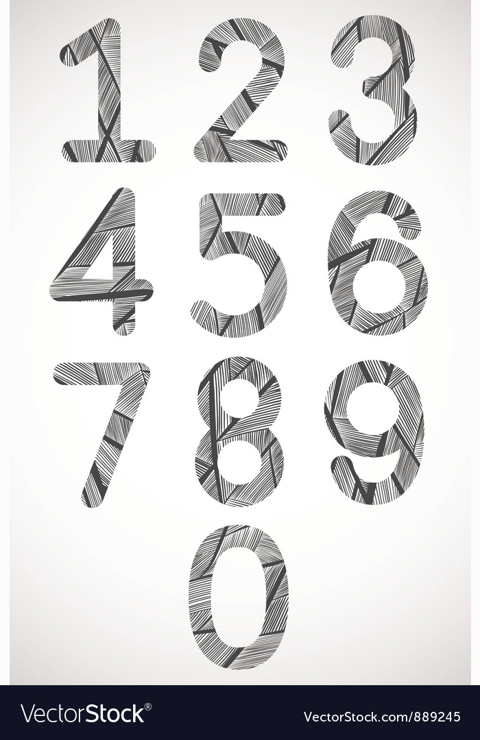 Retro style numbers typeset vector | Price: 1 Credit (USD $1)