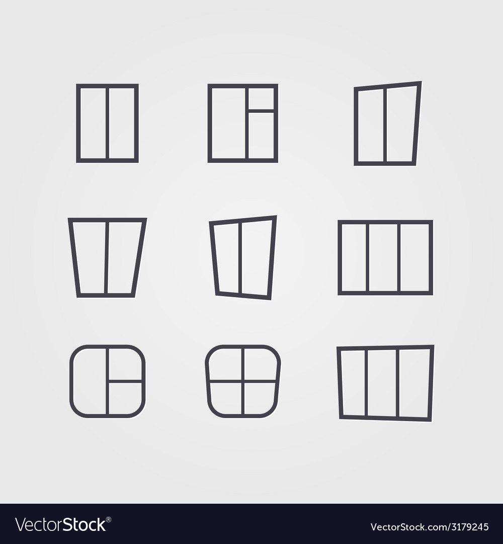 Set of black silhouettes of windows isolated on vector | Price: 1 Credit (USD $1)