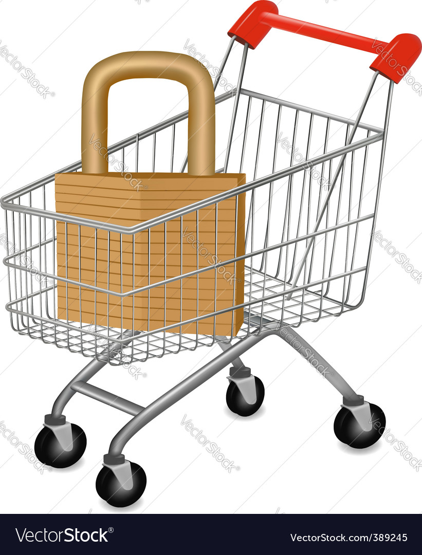 Shopping cart with key vector | Price: 1 Credit (USD $1)