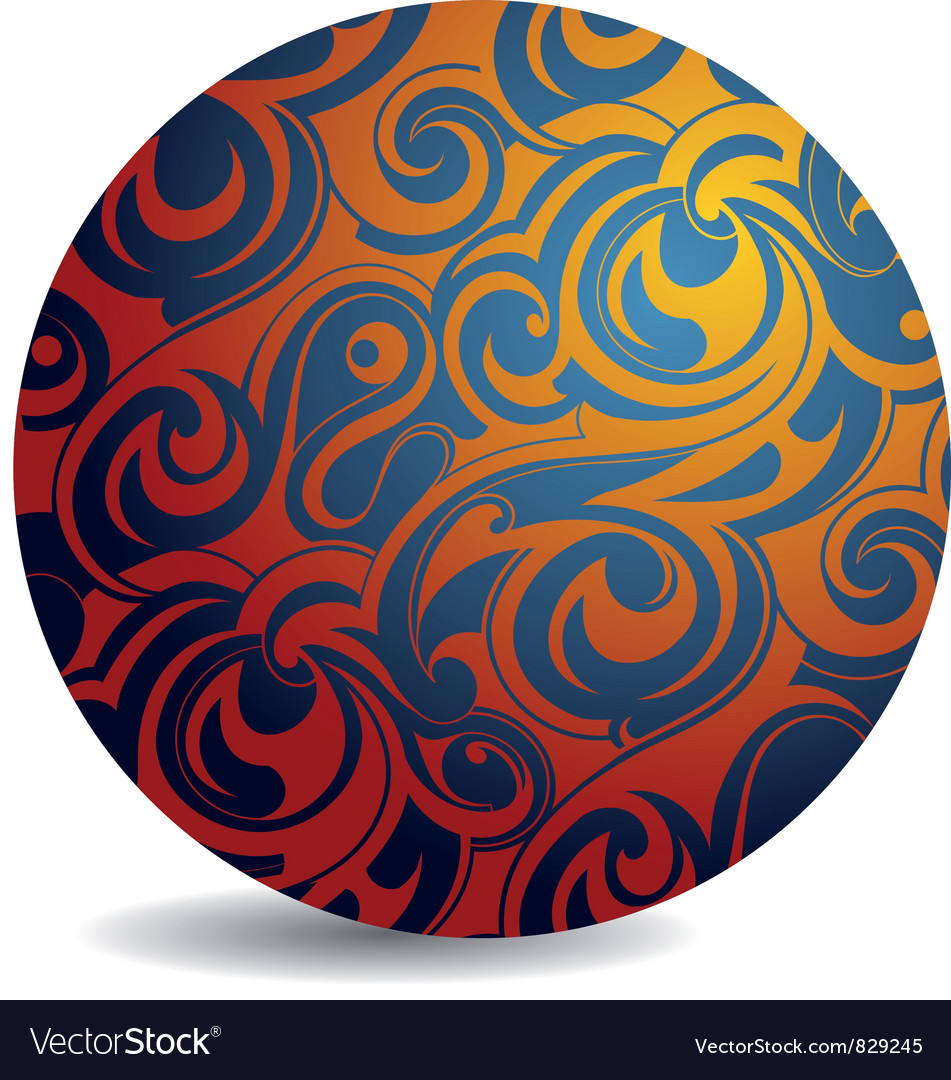 Swirl pattern sphere vector | Price: 1 Credit (USD $1)