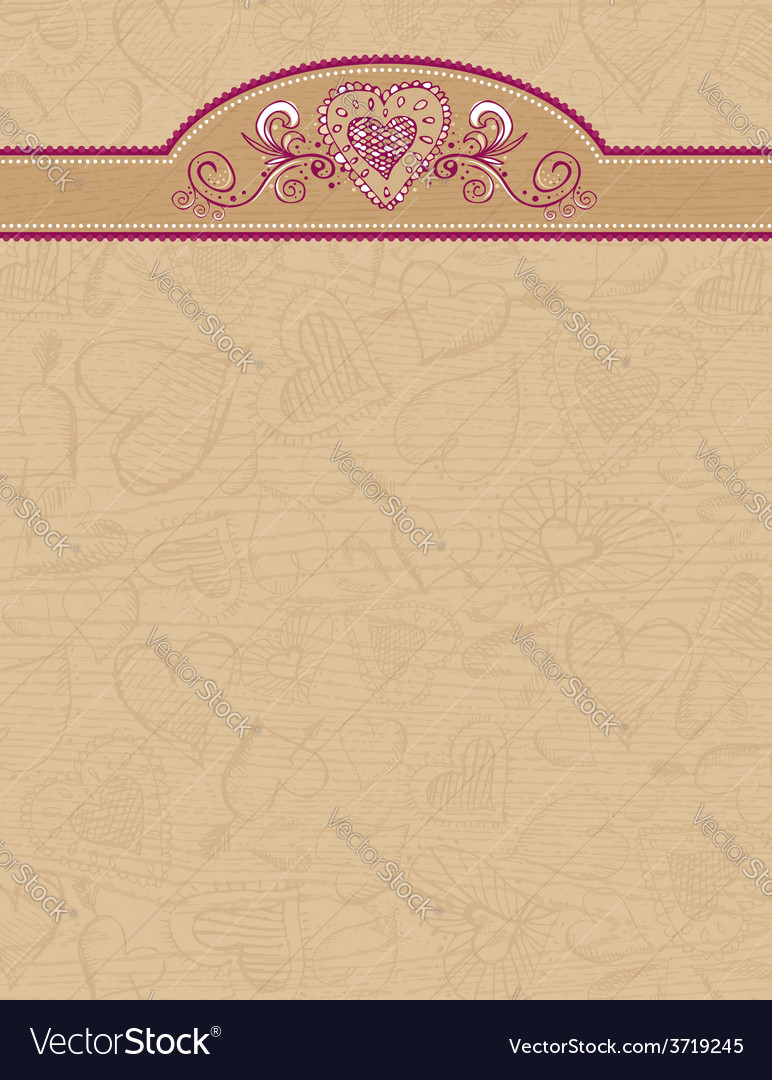 Valentines wooden background with hand draw hearts vector | Price: 1 Credit (USD $1)