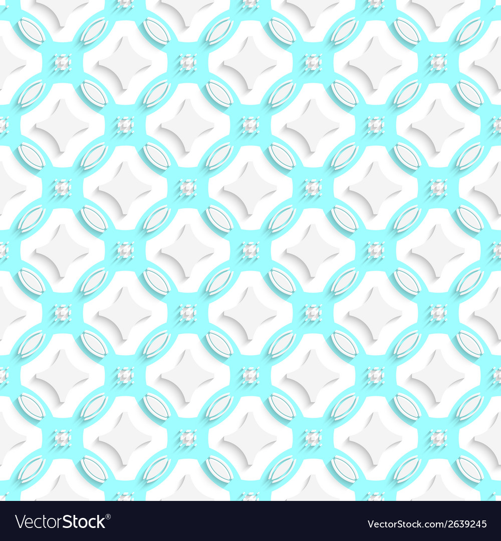 White ornament with cyan seamless vector | Price: 1 Credit (USD $1)
