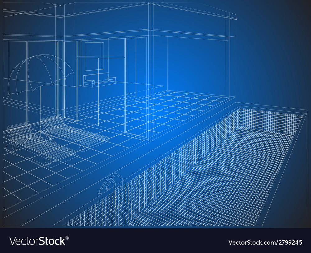 Wireframe home exterior vector | Price: 1 Credit (USD $1)