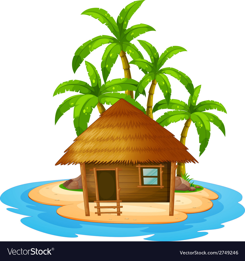 A small house in the island vector | Price: 1 Credit (USD $1)