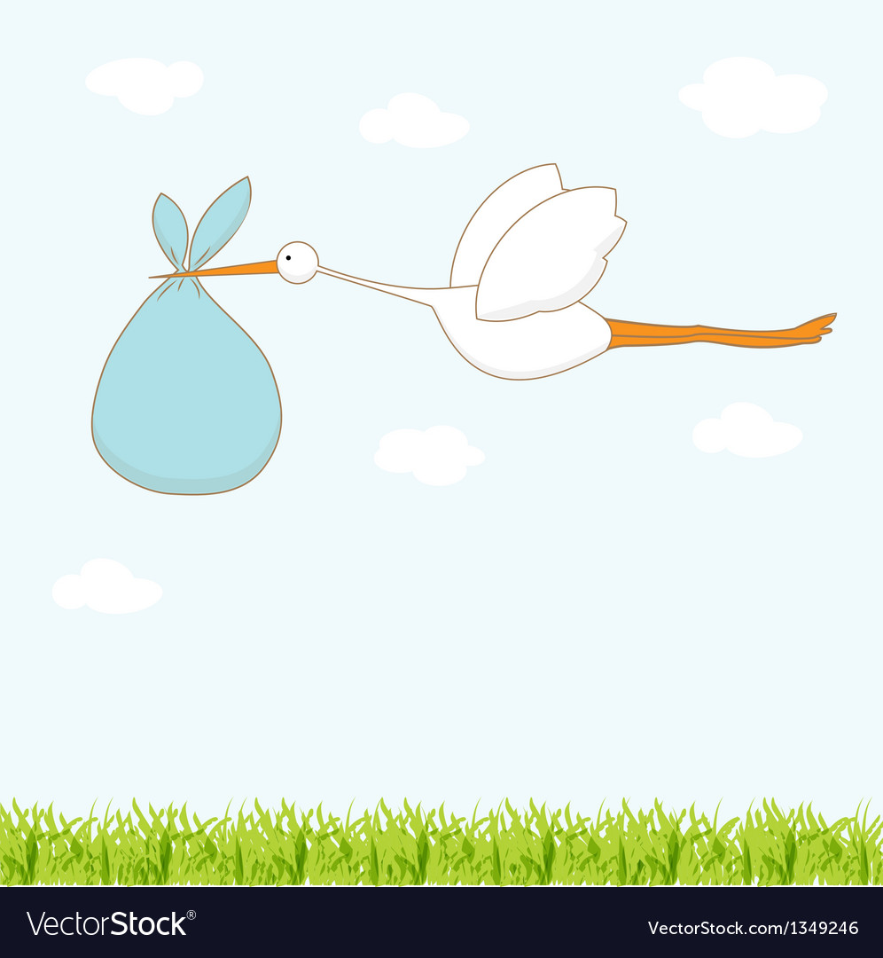 Baby arrival card with stork that brings a cute vector | Price: 1 Credit (USD $1)