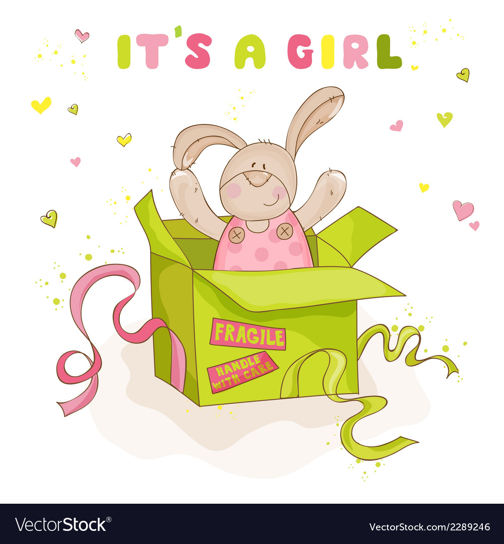 Baby bunny in a box - baby shower or arrival card vector   Price: 1 Credit (USD $1)