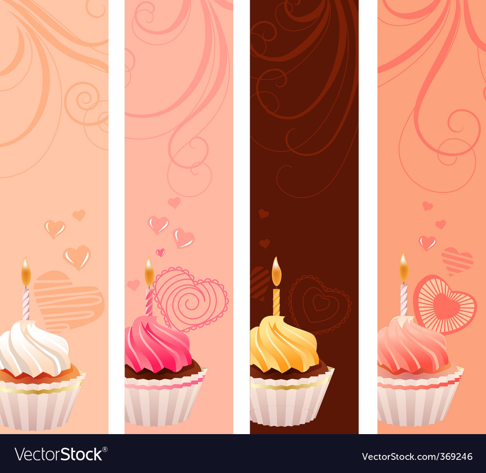 Banners with sweet small cakes vector | Price: 1 Credit (USD $1)