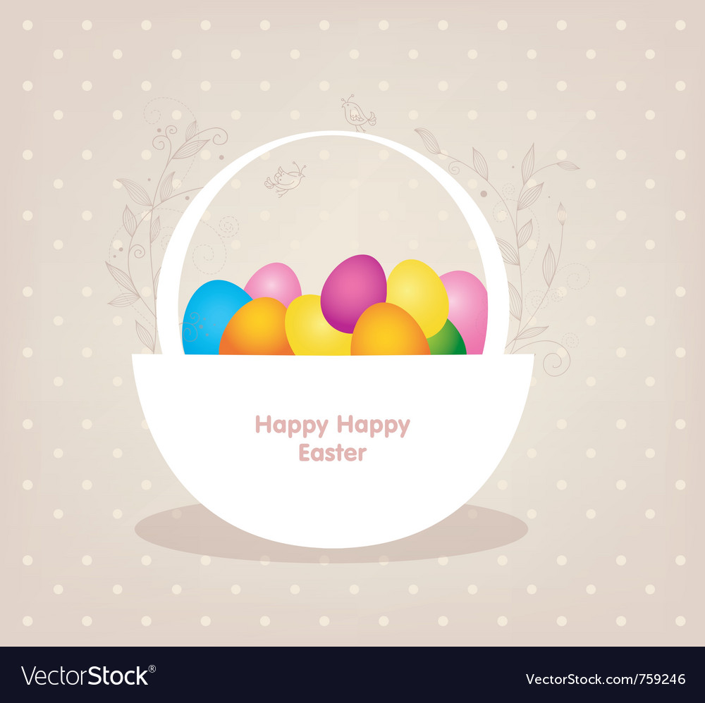Basket with color eggs vector | Price: 1 Credit (USD $1)