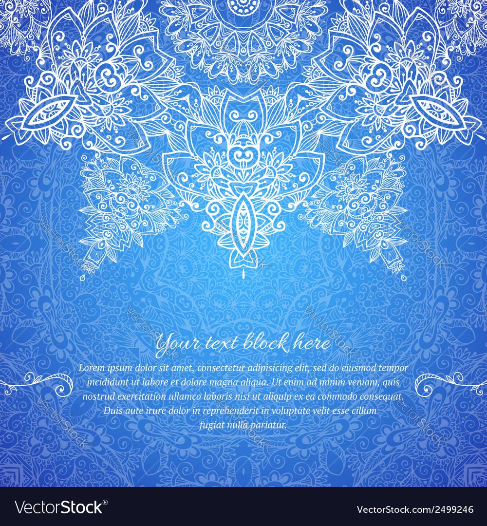 Blue ornate vintage wedding card background vector | Price: 1 Credit (USD $1)