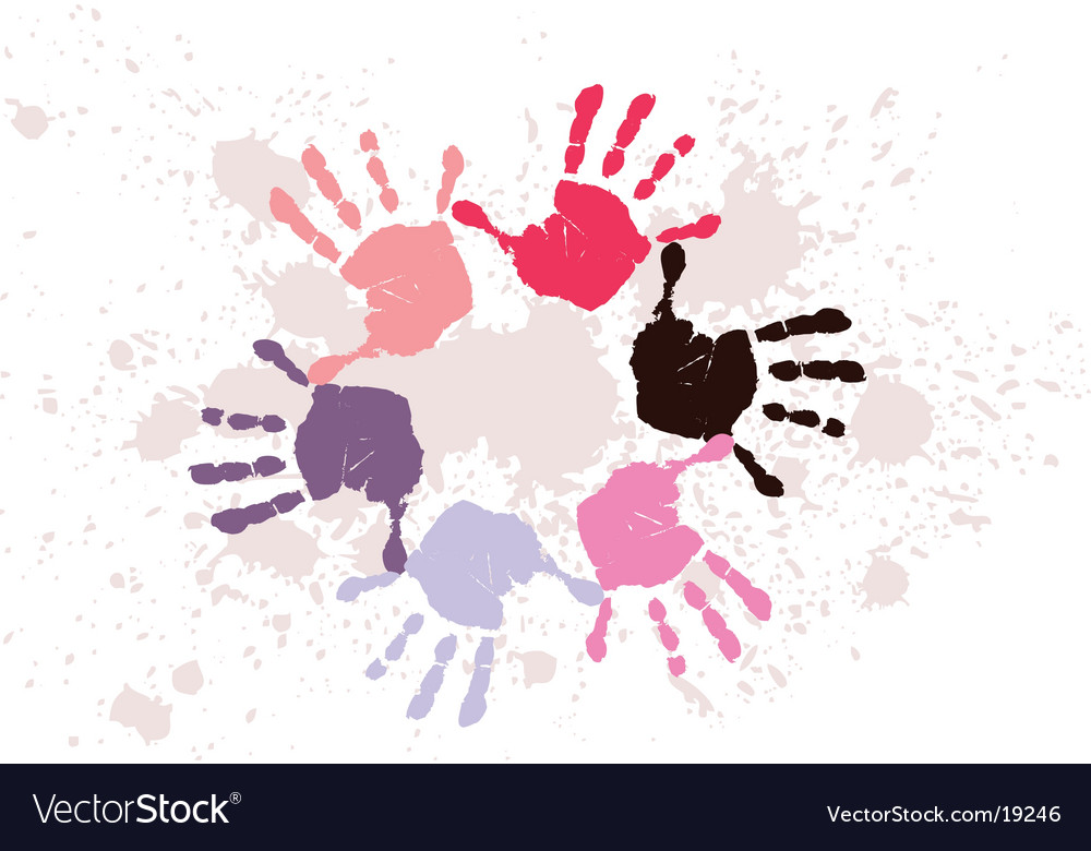 Colorful hand prints vector | Price: 1 Credit (USD $1)