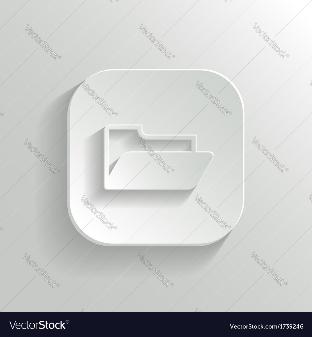 Folder icon - white app button vector | Price: 1 Credit (USD $1)