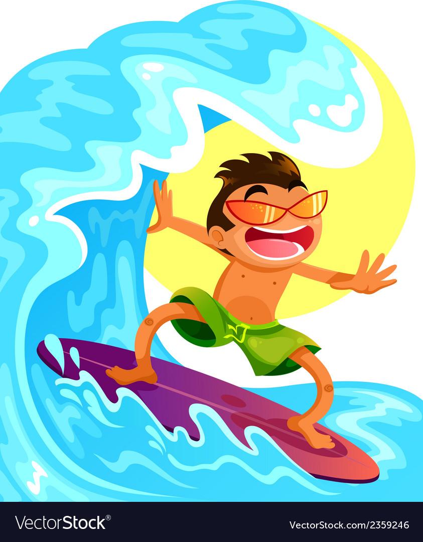 Happy surfer vector | Price: 3 Credit (USD $3)