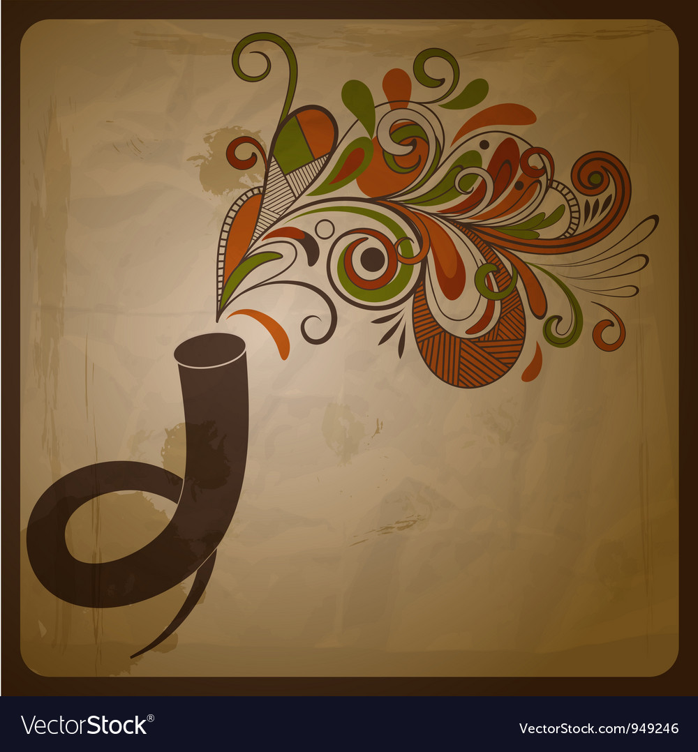 Horn and floral music vector | Price: 1 Credit (USD $1)
