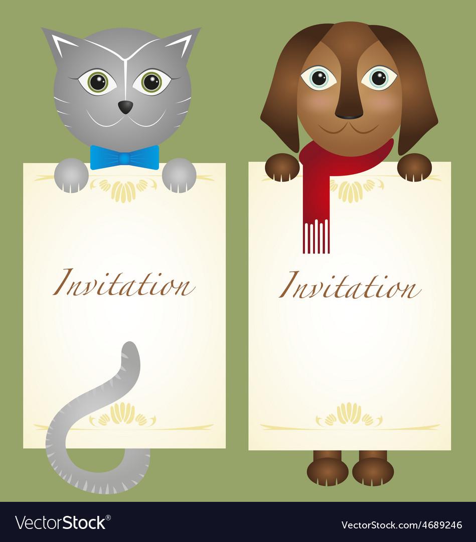 Invitation card cat kitten dog retro hipster vector | Price: 1 Credit (USD $1)