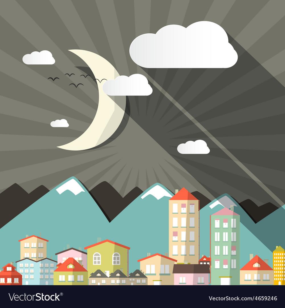 Night landscape town or city in flat design retro vector | Price: 1 Credit (USD $1)