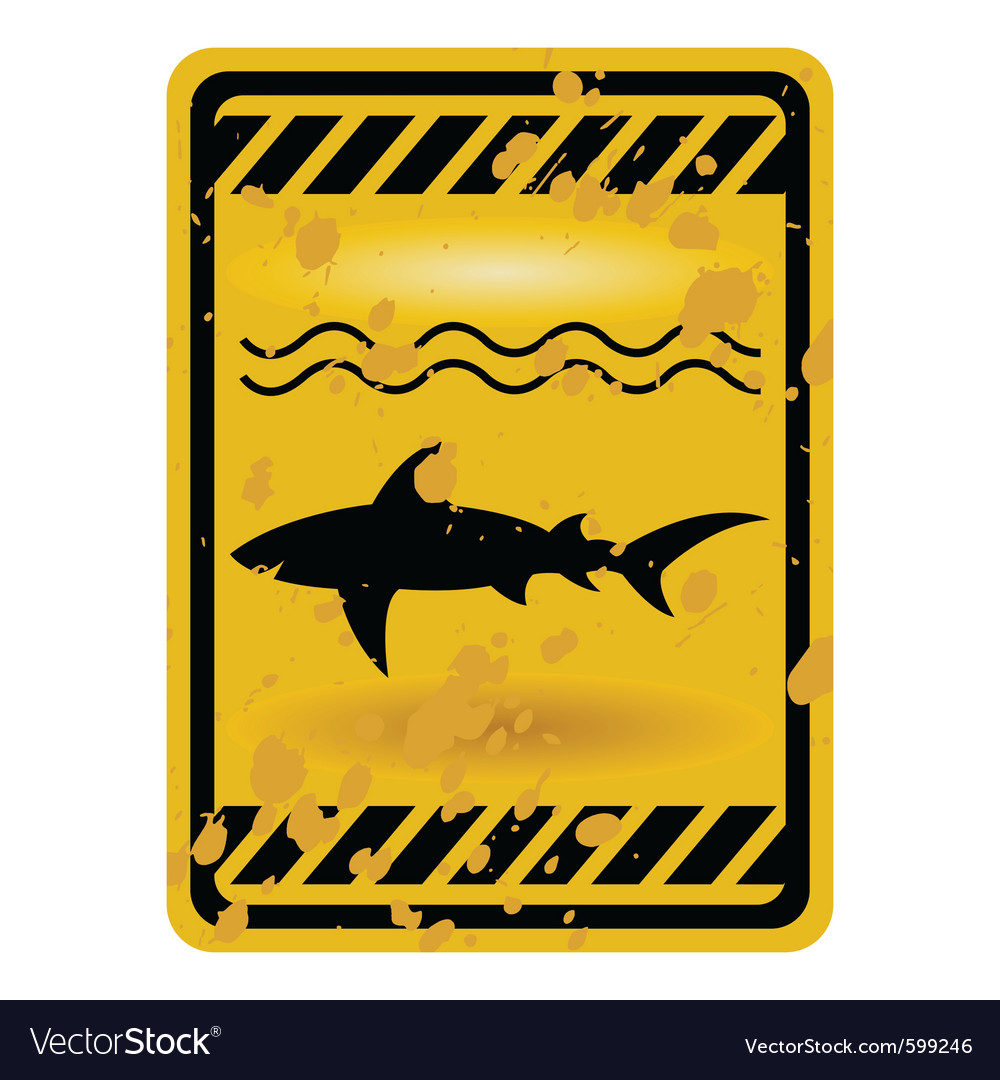 Shark attack warning sign vector | Price: 1 Credit (USD $1)
