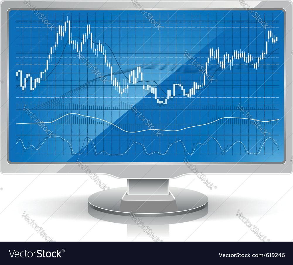 Stock chart on white monitor home workstation vector | Price: 1 Credit (USD $1)