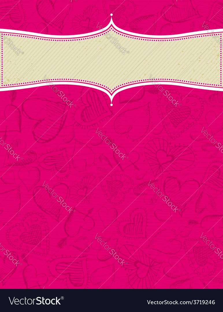 Valentines pink background with hand draw hearts vector | Price: 1 Credit (USD $1)
